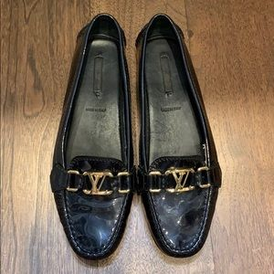 Louis Vuitton black patent & gold driving loafers